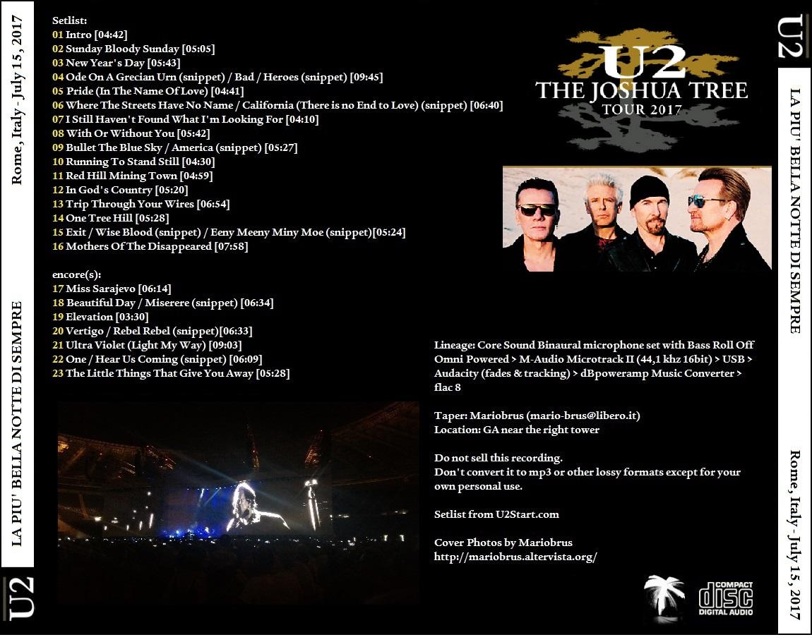U2gigs com cover » Audio » 2017 - Joshua Tree Tour 2017 » 03 - 2017